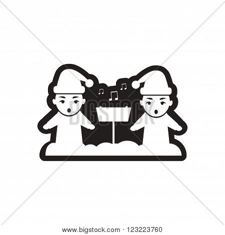 Flat icon in black and white children sing carols