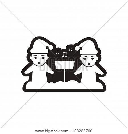 Flat icon in black and white children sing carols