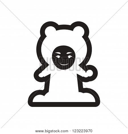 Flat icon in black and white child snowball