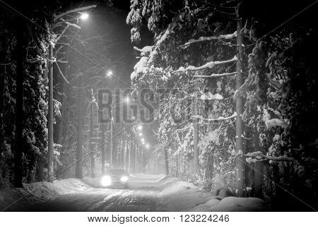 Car driving in winter forest covered with snow. Night scene street lights along road.