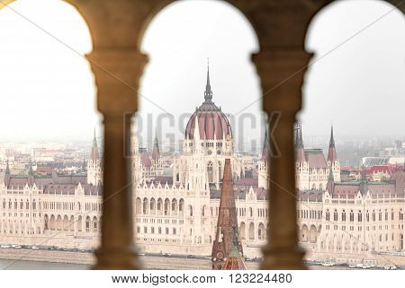 View on parliament building from fisherman bastion on Buda hill. Budapest Hungary Europe travel.