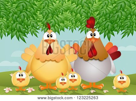 illustration of a family of chickens in the meadow