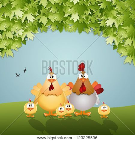 Funny illustration of a Chichens family in the meadow