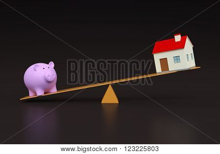 Piggy 3d render Model with Home on Seesaw