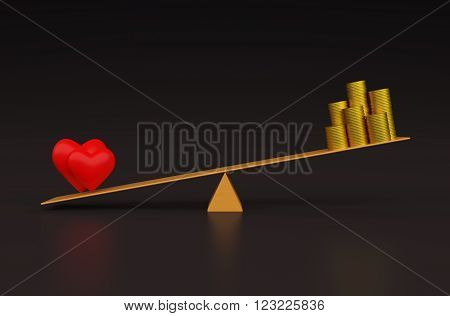 3d  Heart with Gold Coin on Seesaw