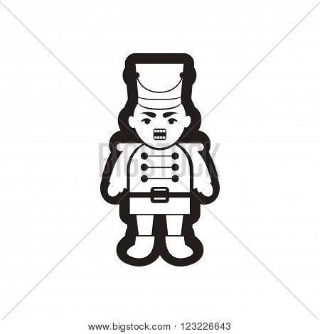 flat icon in black and white nutcracker