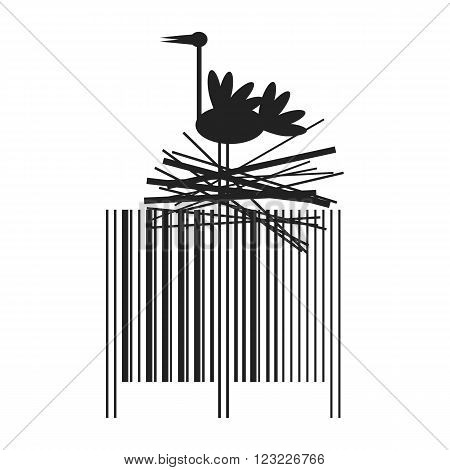 Barcode with czech black stylized stork nest
