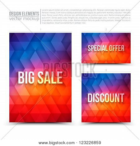 Vector design elements: flayer card banner. Big sale special offer discount. Vector design template. Vector typography design. Vector design mock-up. Vector geometric background. Business vector