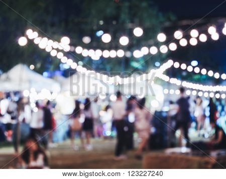 Festival Event Party with Blurred People Crowd Background