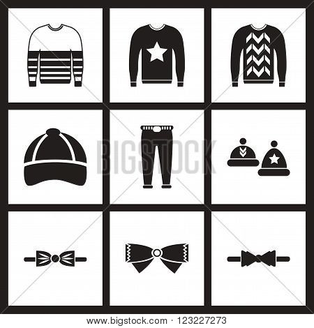 Concept flat icons in black and white  men wear