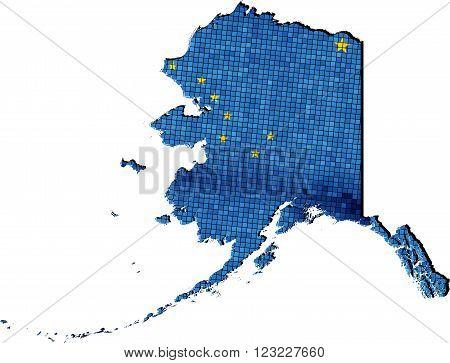 Alaska map with flag inside - Illustration, grunge mosaic, vector