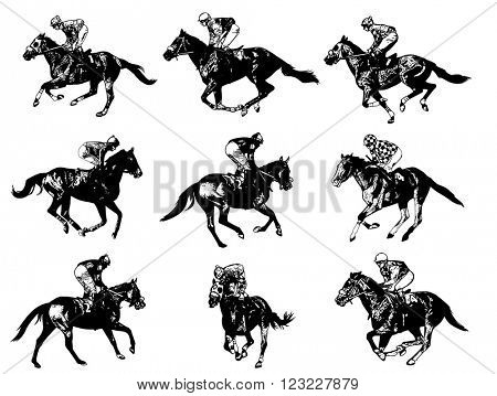 racing horses and jockeys illustration - vector