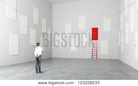 Businesswoman standing in room with many white doors one red ladder at it Concept of choice.