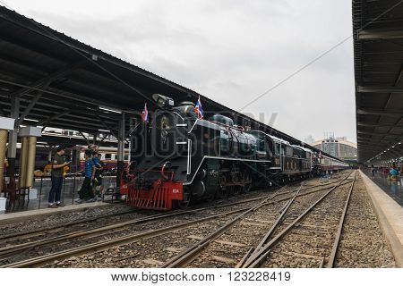 Steam Train At State Railway Of Thailand 119 Years Anniversary