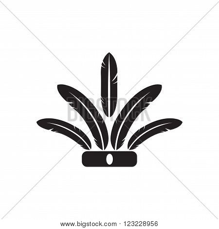 Flat icon in black and white  Indian feathers