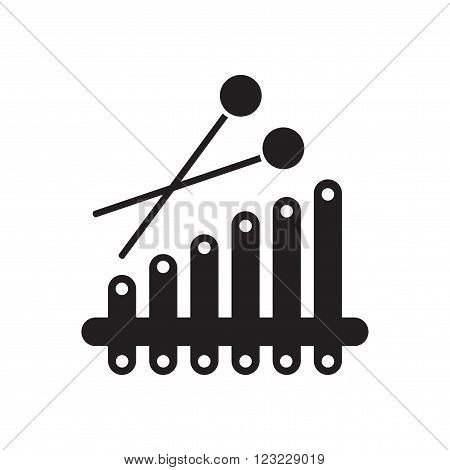 Flat icon in black and white  xylophone