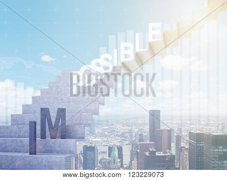 Ladder to sky 'possible' on steps 'im' down. Blue sky and Paris at background. Concept of possibility. 3D rendering