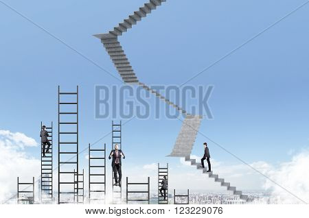 Businessman climbing upstairs ladders and other businessmen blue sky at background city view. Concept of career growth.