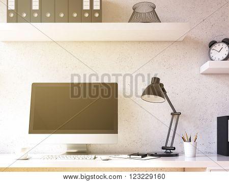Computer on table. black screen shelf above. Concept of work. Toned filter. Mock up. 3D render.