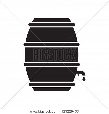 Flat icon in black and white  beer keg