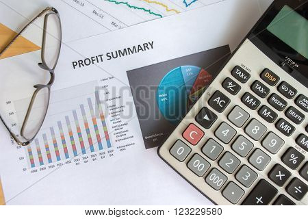 Financial accounting of profit summary graphs analysis