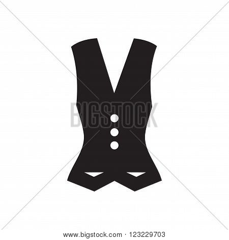 Flat icon in black and  white  Waistcoat