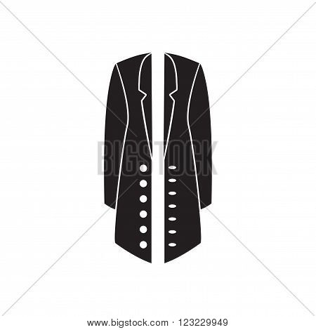 Flat icon in black and  white coat
