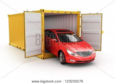 Freight transportation shipment and delivery concept red car inside yellow cargo container isolated