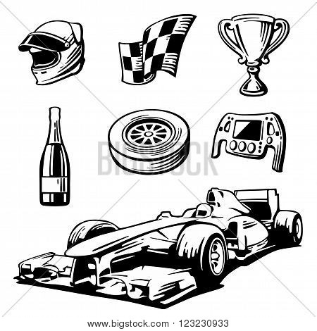 Car race icons set. Formula 1. Helmet wheel tire speedometer cup flag Vector flat illustration isolated on white background.