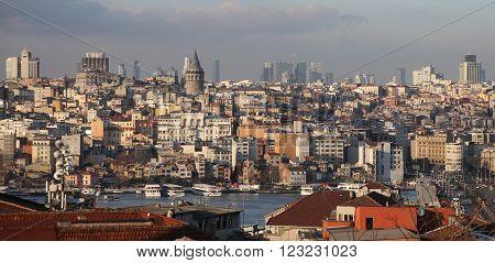 Galata and Karakoy district in Istanbul city Turkey
