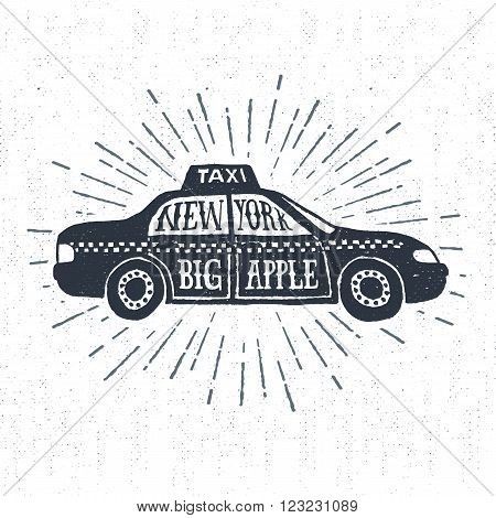 Hand drawn textured vintage label retro badge with taxi vector illustration and