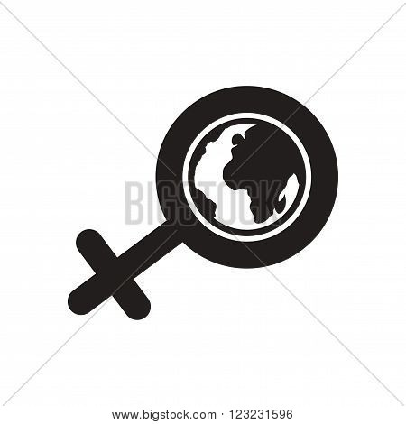 Flat icon in black and  white female sign
