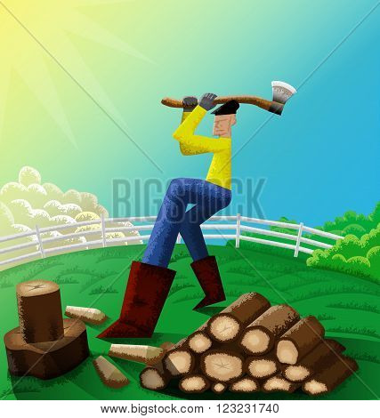 Illustration of man chopping wood in his farm.