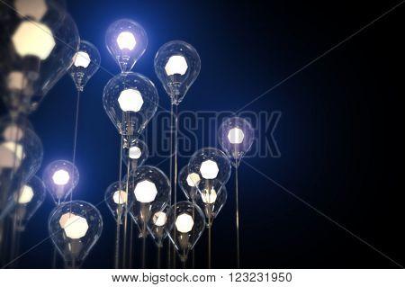 light bulbs idea Creativity on Background and Concept Art
