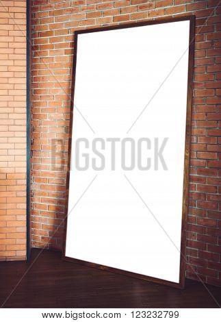 Mock up Banner Billboard Poster Frame on Floor Brick wall Background