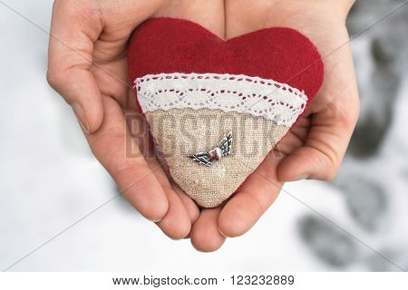 Romantic Valentine Plush Heart With A Winged Metal Heart Holded By Hands In Winter With Snow
