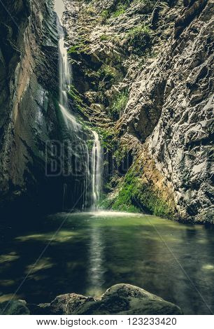 Big waterfall in mountains of troodos, Cyprus
