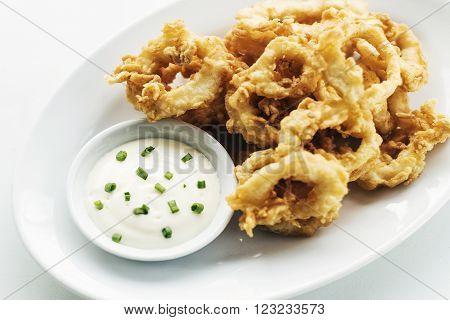 traditional spanish fried calamari squid rings tapas with aioli garlic sauce