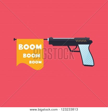 Firing gun with the Boom flag Fool Day April Holiday illustration