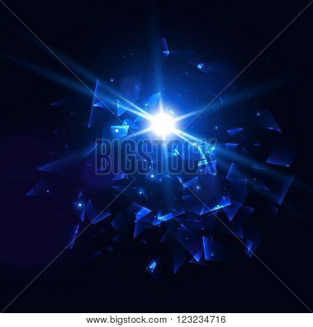Blue techno style vector explosion, Abstract background EPS10