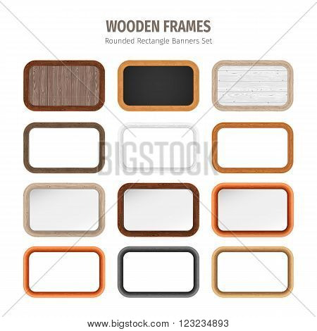 Wooden frames rounded rectangle banners collection. Used pattern brushes included in Brushes panel. Used patterns included in Swatches pannel. Clipping paths included.