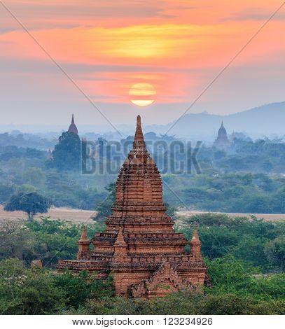 The Temples of Bagan at sunrise Mandalay Myanmar