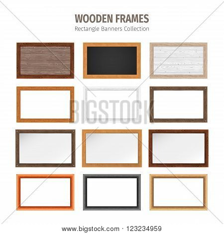 Wooden rectangle banners collection. Used pattern brushes included in Brushes panel. Used patterns included in Swatches pannel. Clipping paths included.