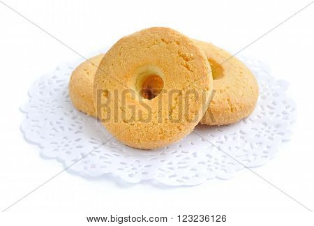 Cookies On A Tracery Paper Napkin Isolated On White
