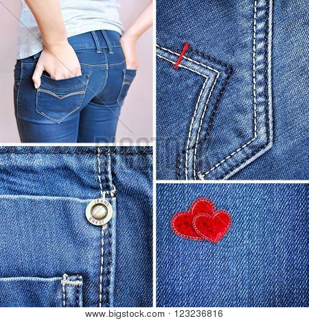 Collage of denim. Texture jeans, jeans seams, girl in jeans