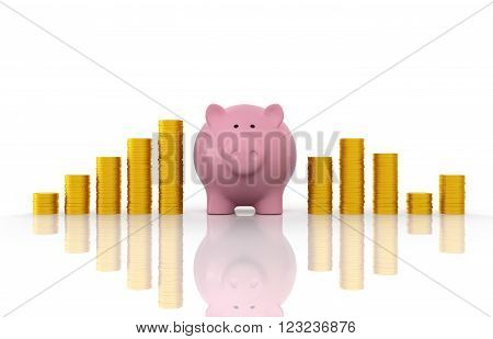 Piggy with Gold Coin Isolated on White - 3D Rendering