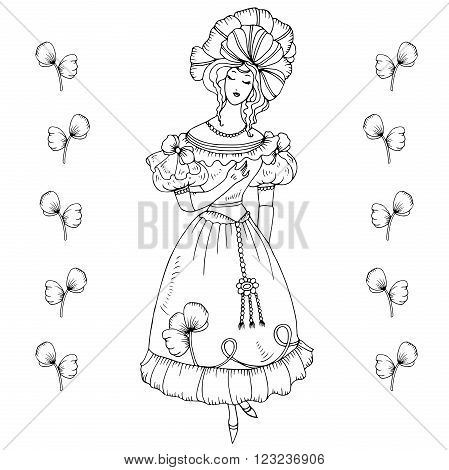 Vector hand drawn girl in vintage costume of the nineteenth century. The long elegant dress, puffed sleeves flashlight and volumetric headdress. On a white background