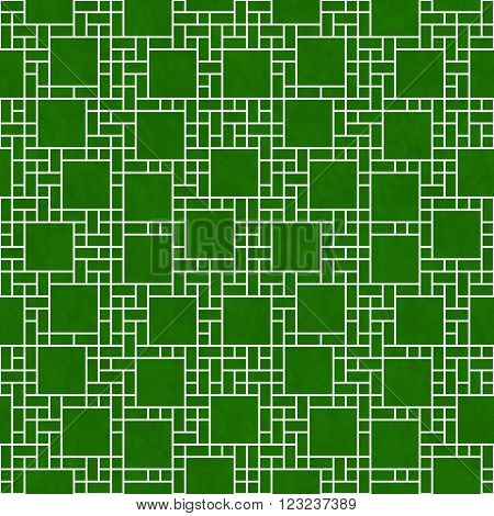 Green and White Square Abstract Geometric Design Tile Pattern Repeat Background that is seamless and repeats