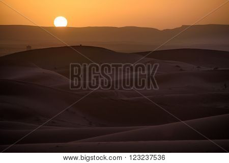 Sunset Over The Dunes, Morocco, Sahara Desert