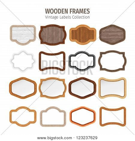 Wooden frames vintage labels collection. Used pattern brushes included in Brushes panel. Used patterns included in Swatches pannel. Clipping paths included.